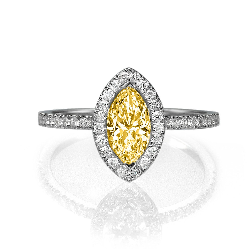 1 3 tcw fancy yellow marquise engagement ring halo ring 14k. Black Bedroom Furniture Sets. Home Design Ideas