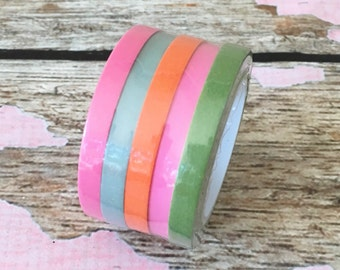 5 piece Skinny Washi Tape Tropical Pink, Blue, Orange and Green each roll is 5mm x 10m