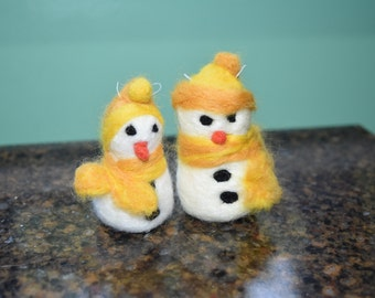 Yellow Needle felted snowman Christmas ornaments for your tree - pictured available now