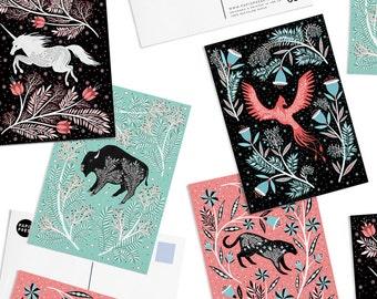 Pack of 8 Papio Press Scandinavian Floral Postcards