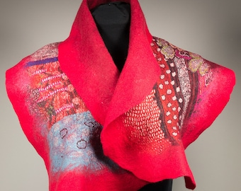 Nuno felted scarf-Red-wool shawl
