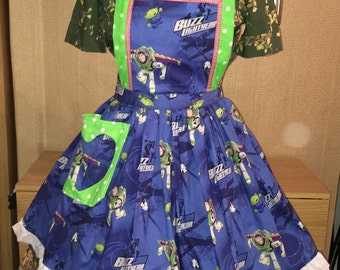 Buzz Light year toy story Vintage style Apron Dolly Does Vintage