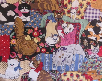 Cat Quilt Infinity scarf Siamese Calico Persian, Birthday gift scarf, Wedding scarf
