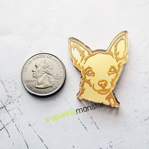 Chihuahua Cabs 2 Pcs Gold Mirror Laser Cut Acrylic