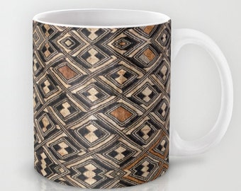 Kuba Cup - w/Kuba Cloth Design #2 / Ceramic Mug / Ethnographic Art Image Series / Tribal Art – African Art / Coffee, Tea, Hot Toddy, etc