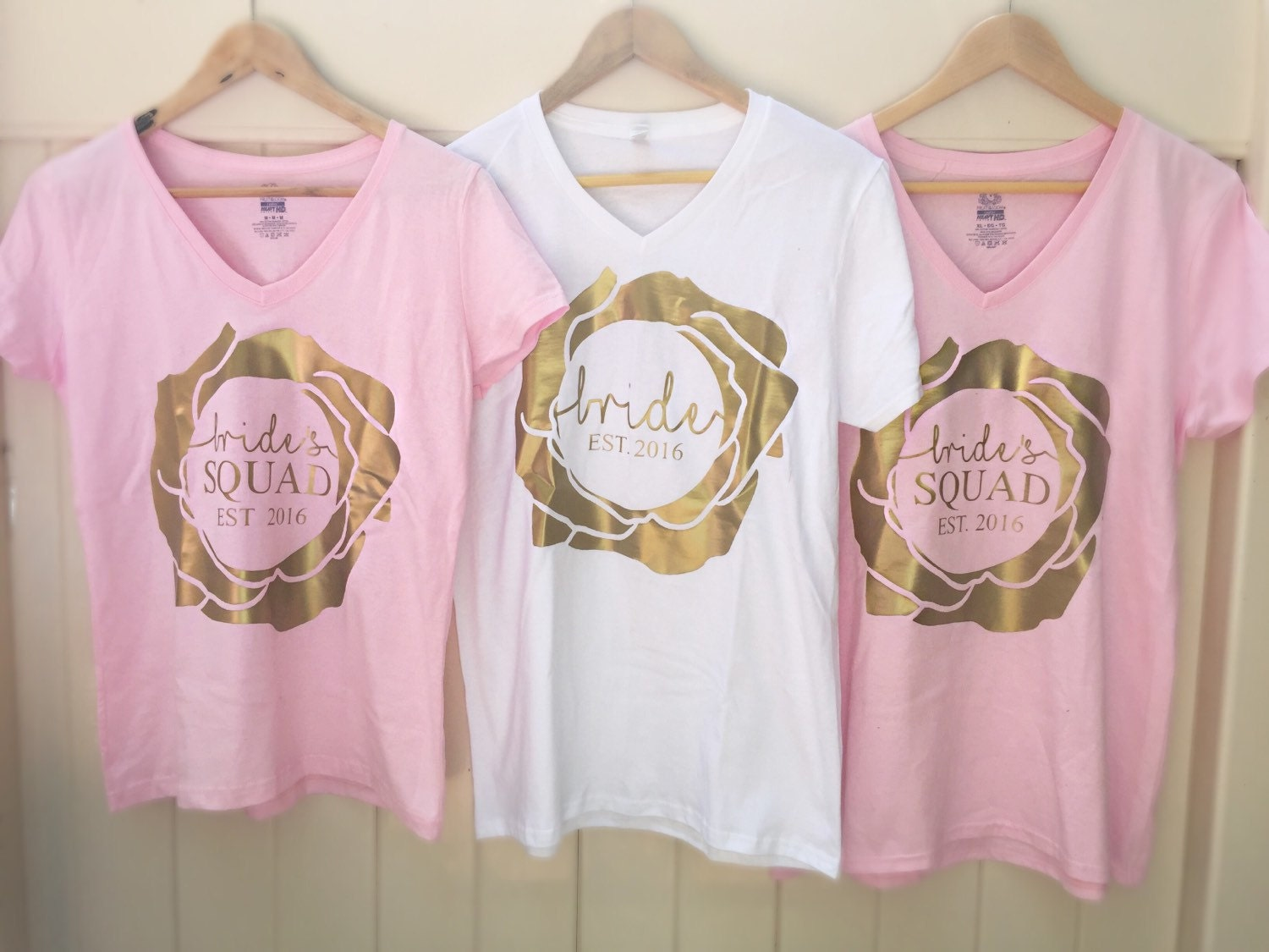Bride 39 s squad and bride v neck t shirt set with custom for Bucket squad gold shirt