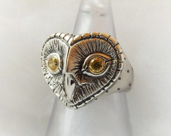 Owl ring , silver and yellow sapphire owl ring.