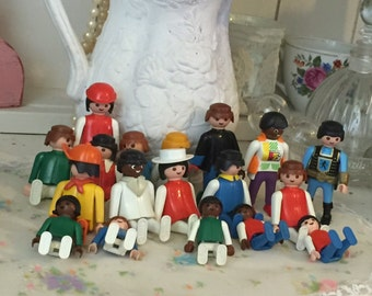 Vintage Geobra Playmobil People Job Lot,1970s 1980s Toy Figures , Retro Toys