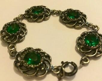 Vintage Silver Tone Green Glass Bracelet