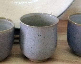 SPECIAL OFFER,3 for 2 Ceramic Tea/Wine Cups, Light Blue Glaze - Handmade Pottery ,