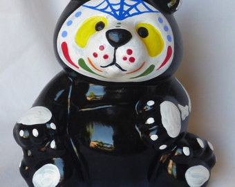 Hand Painted Day of the Dead Bear statue-Sugar Skull Statue-Recycled Art-Halloween Decoration-Dia de los Muertos-Room decorations-teddy bear