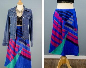 80s Abstract Geometric Print Skirt, Blue A Line Skirt, Animal Print Polyester Skirt, Fall Fashion,High Waisted Maxi Skirt, With Pockets