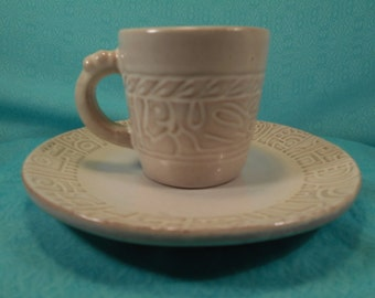 Frankoma Cup And Saucer Set, Mayan Aztec White Sand Design 7G