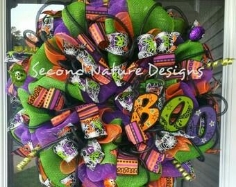 Halloween BOO Bat Deco Mesh Door Wreath