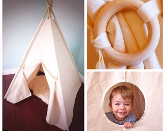 Large Canvas Teepee Tent WITH Poles and Window, Natural Handmade toy, Kids play tent, wigwam, kids teepee tent, playhouse, nursery decor