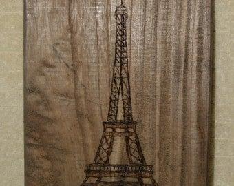 Pyrography, Eifeel Tower, Paris, Wood Burning, Dark Wood, Home Decor, Wall Hanging, Hand Made