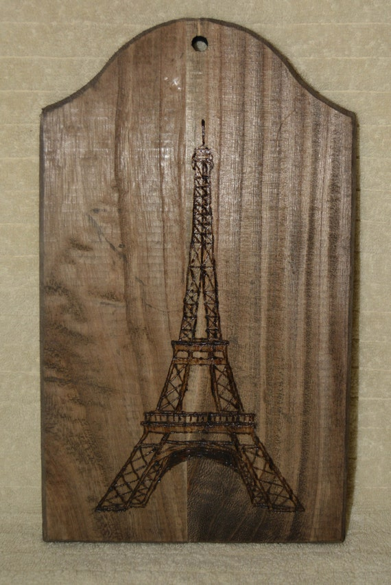 Pyrography, Eifeel Tower, Paris, Wood Burning, Dark Wood, Home Decor, Wall Hanging, Hand Made