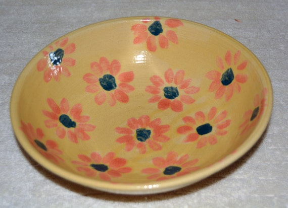 Serving Bowl, Fruit Bowl, Salad Bowl, Pasta Dish, Flowers, Yellow, Orange, Stoneware, Kitchen, Mothers Day, Easter
