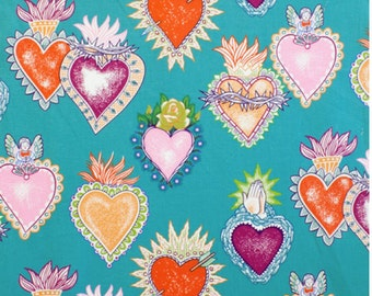 Heart and Soul Fabric, Alma y Corazon 100% Cotton Fabric, Turquoise by Alexander Henry Hearts with Flames, with Roses, Praying Hands