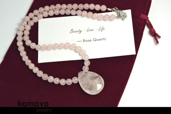 ROSE QUARTZ NECKLACE - Faceted Teardrop Pendant & Natural Beads - 18.5 Inches