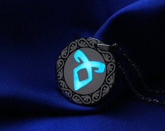 Glow in the Dark Angelic Power Rune Amulet Necklace, Glow in the Dark Necklace, Angelic Rune Necklace, Geekery, Fandom Necklace