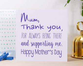 Mother's Day Card - Happy Mothers Day Card - Thank You Mum Card - Card For Mummy - Thank you Mum Card - Personalised Card