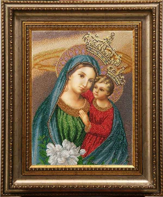 Virgin Mary the Unfading Blossom DIY bead embroidery kit beaded painting craft set