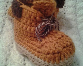 baby crochet work boots or hiking shoes