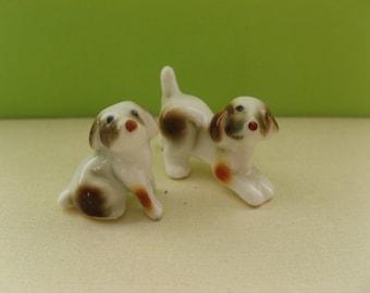 Miniature bone china puppies; two figurines, vintage, very tiny, dollhouse