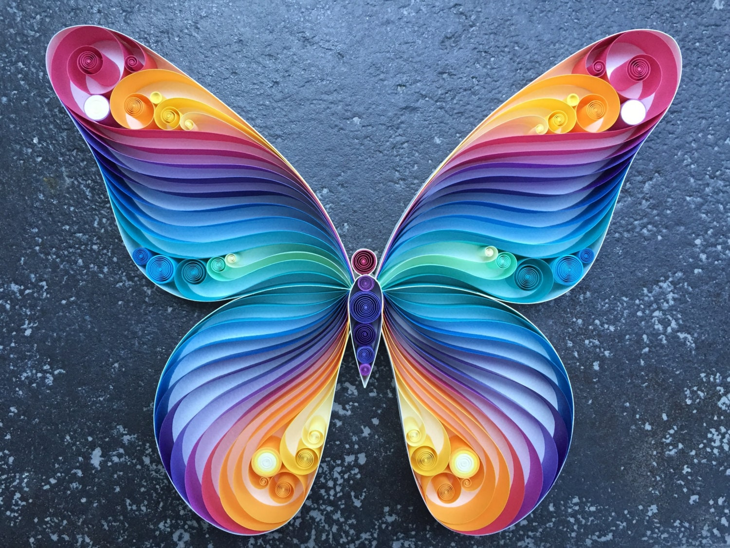 Quilled paper art spread your wings fly butterfly by for Paper art butterfly
