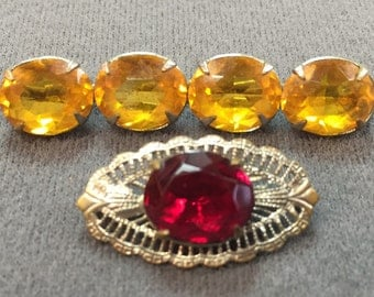 Two Vintage Rhinestone Bar Brooches-Free Shipping