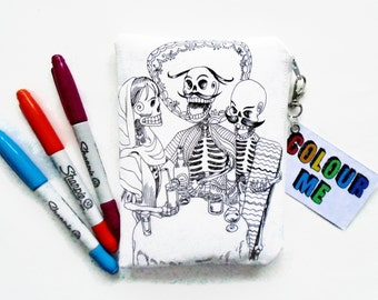Colour-In Day Of The Dead Doodle Wallet
