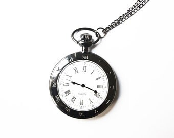 Gunmetal Vintage Style Open Face Pocket Watch Necklace - 1 PC