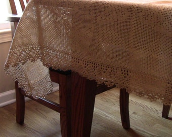 Crocheted lace tablecloth, hand made.