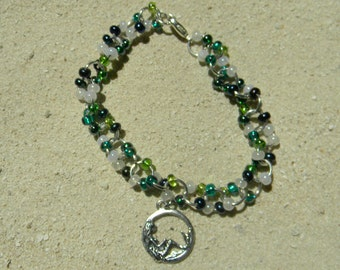 Beaded Chain Link Bracelet with Mermaid Charm