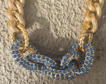 Blue & Gold Pave Necklace