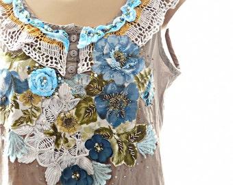 FREE SHIPPING - Bohemian tunic, boho tunic, boho festival tunic, shabby chic, altered couture upcycled tunic, gypsy style, beaded lace tunic