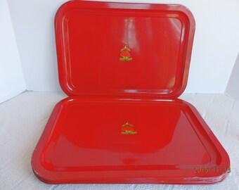 Vintage Set of Six Red Metal Trays. Vintage Trays