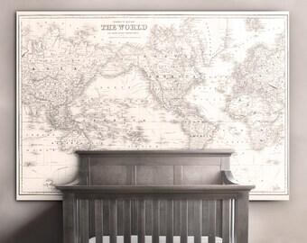 World Map Print : Nursery World Map print art poster  1852