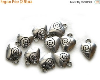 SALE 10 Silver Spiral Heart Charms - 14mm