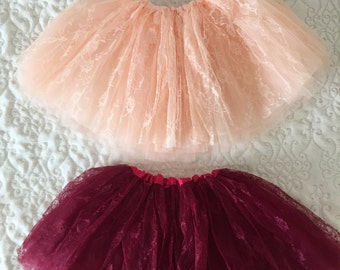 Beautiful Burgundy and Peach Lace Tutus for Children 2T up to 10 Years