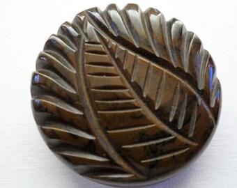 Vintage Brown Carved Bakelite Button