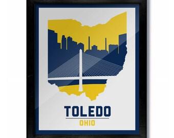 Ohio Wall Art columbus ohio skyline poster print: wall art choose a size