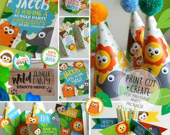 Printable Personalised JUNGLE SAFARI Birthday Party Package * Invitation * Hats * Banner * Boxes * Flags * Labels * Stickers * Cupcake