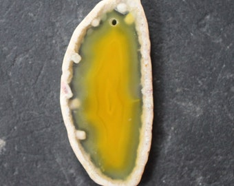 Yellow Banded Agate Gemstone Pendant - 30mm x 63mm