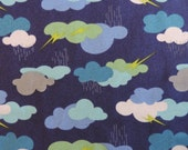 SOAKED by Jenni Calo ~ Fabric ~ Thunder & Lightening on Blue ~ Connecting Threads - Quilting - Sewing - Kids - Girls - Rain ~ Umbrellas