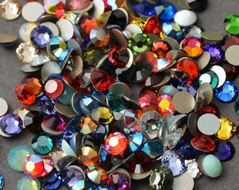 144 SWAROVSKI Rhinestones Crystal FlatBack MIX, 5ss, 7ss, 9ss, 12ss