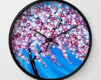 sakura pattern, sakura design, sakura art, pink clock, wall clock, japanese homewares, japanese decor, sakura print, print of australian art