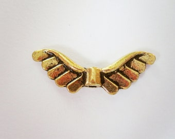 Gold Angel Wing Beads 12 - 22mm x 7mm