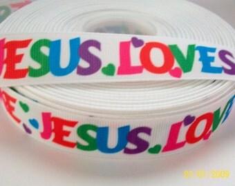 7/8'' -  22 mm Jesus Loves Me Printed Grosgrain Ribbon